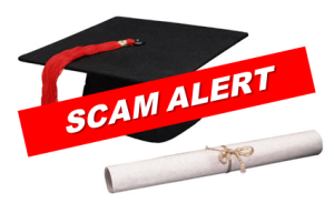Scam alert cap and diploma