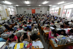 Middle school classroom full in China