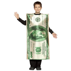 boy in hundred dollar bill costume