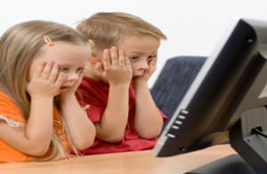 children watching computer video