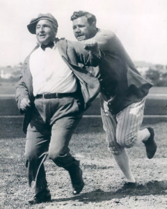 "Baseball legend Babe Ruth gives the bum's rush to James Leo ""One-Eyed"" Connelly in the 1930s."