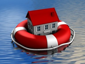 home floating in life preserver