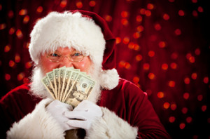santa gleeful with cash
